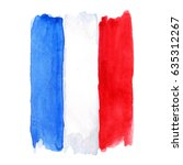 watercolor france french flag 3 ... | Shutterstock . vector #635312267