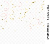 rose gold confetti and ribbon... | Shutterstock .eps vector #635312561