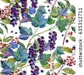 berries of black currant.... | Shutterstock . vector #635312711