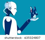 human business in robotic hand. ... | Shutterstock .eps vector #635324807