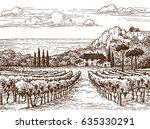 countryside scenery. hand drawn ... | Shutterstock .eps vector #635330291