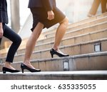 Close Up Legs Of Businesswoman...