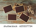 retro camera and empty old... | Shutterstock . vector #635337734