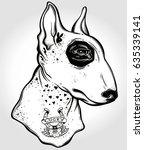 bull terrier's portrait made in ... | Shutterstock .eps vector #635339141