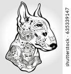bull terrier's portrait made in ... | Shutterstock .eps vector #635339147