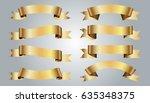 set of golden ribbons on gray... | Shutterstock .eps vector #635348375