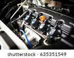 the powerful engine of a car.... | Shutterstock . vector #635351549