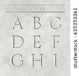 roman letters chiseled in... | Shutterstock .eps vector #635353361