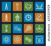 mechanical icons set. set of 16 ... | Shutterstock .eps vector #635355929