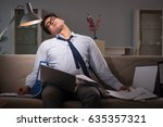 businessman workaholic working... | Shutterstock . vector #635357321