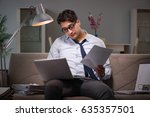 businessman workaholic working... | Shutterstock . vector #635357501