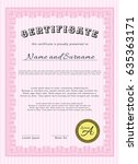 pink certificate diploma or... | Shutterstock .eps vector #635363171