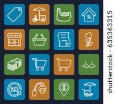shop icons set. set of 16 shop... | Shutterstock .eps vector #635363315