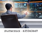 businessman in futuristic... | Shutterstock . vector #635363669
