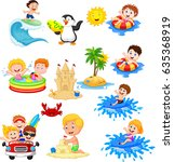 cute little kids playing on the ... | Shutterstock .eps vector #635368919