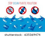 stop ocean plastic pollution... | Shutterstock .eps vector #635369474