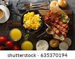 big breakfast with bacon ... | Shutterstock . vector #635370194