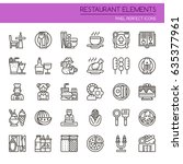 restaurant elements   thin line ... | Shutterstock .eps vector #635377961