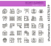 security elements   thin line... | Shutterstock .eps vector #635378159