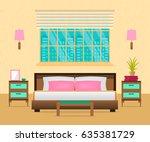 interior bedroom with furniture ... | Shutterstock .eps vector #635381729