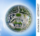 aerial city view with... | Shutterstock . vector #635384027