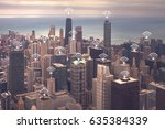 chicago cityscape with wifi... | Shutterstock . vector #635384339