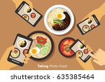 people take a photo of korean... | Shutterstock .eps vector #635385464