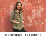 Young Fashion Woman In Military ...