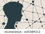 silhouette of a woman's head.... | Shutterstock . vector #635389211