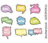 cute speech bubble in hand... | Shutterstock .eps vector #635393411