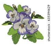 realistic purple pansy flower... | Shutterstock .eps vector #635394629