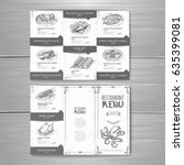 hand drawing restaurant menu...   Shutterstock .eps vector #635399081