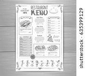 hand drawing restaurant menu... | Shutterstock .eps vector #635399129