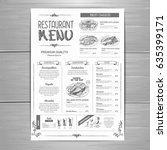hand drawing restaurant menu... | Shutterstock .eps vector #635399171