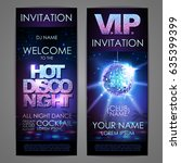 set of disco background banners.... | Shutterstock .eps vector #635399399