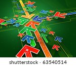 green arrow background   3d... | Shutterstock . vector #63540514