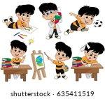 back to school.a cute kid... | Shutterstock .eps vector #635411519