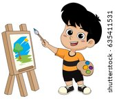 kid painting a picture.vector... | Shutterstock .eps vector #635411531