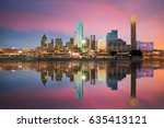 dallas  texas cityscape with... | Shutterstock . vector #635413121
