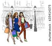walking women with shopping... | Shutterstock .eps vector #635414375