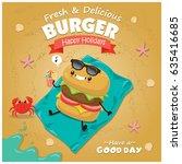 vintage burger poster beach... | Shutterstock .eps vector #635416685