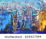 cold night wind and cityscape   Shutterstock . vector #635417399