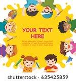 back to school. cute children... | Shutterstock .eps vector #635425859