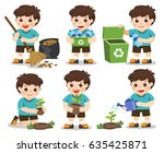 set of a cute boy. save earth.... | Shutterstock .eps vector #635425871