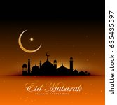 awesome eid mubarak background... | Shutterstock .eps vector #635435597