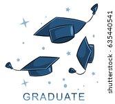 graduate cap in the air. vector ... | Shutterstock .eps vector #635440541