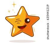 cute cartoon star vector... | Shutterstock .eps vector #635441219