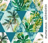 watercolor tropical leaves and... | Shutterstock . vector #635443454