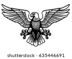 black and white heraldry eagle | Shutterstock .eps vector #635446691