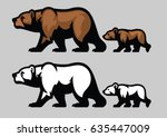 grizzly bear and her cubs | Shutterstock .eps vector #635447009